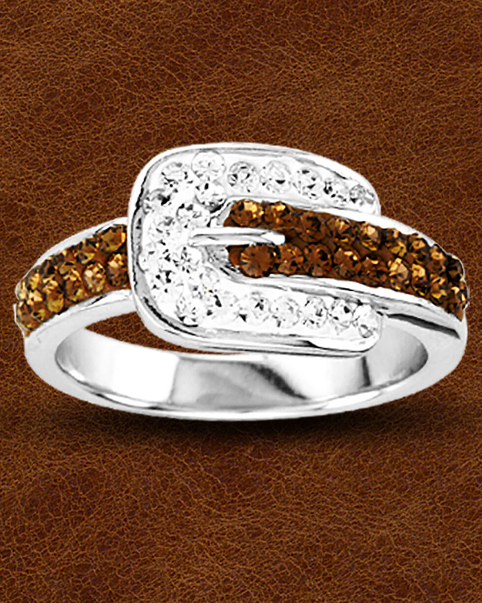 Kelly Herd Buckle Ring with Swarovski Crystals , Silver, hi-res