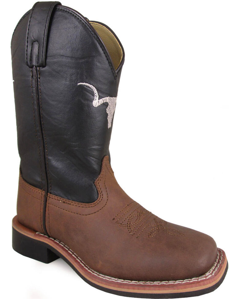 Smoky Mountain Boys' The Bull Cowboy Boots - Square Toe, Brown, hi-res