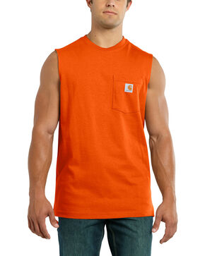 Carhartt Men's Workwear Pocket Sleeveless Shirt, Orange, hi-res