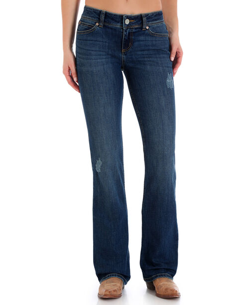 Wrangler Women's Medium Blue Retro Mae Leather Trim Mid-Rise Jeans - Boot Cut , Blue, hi-res