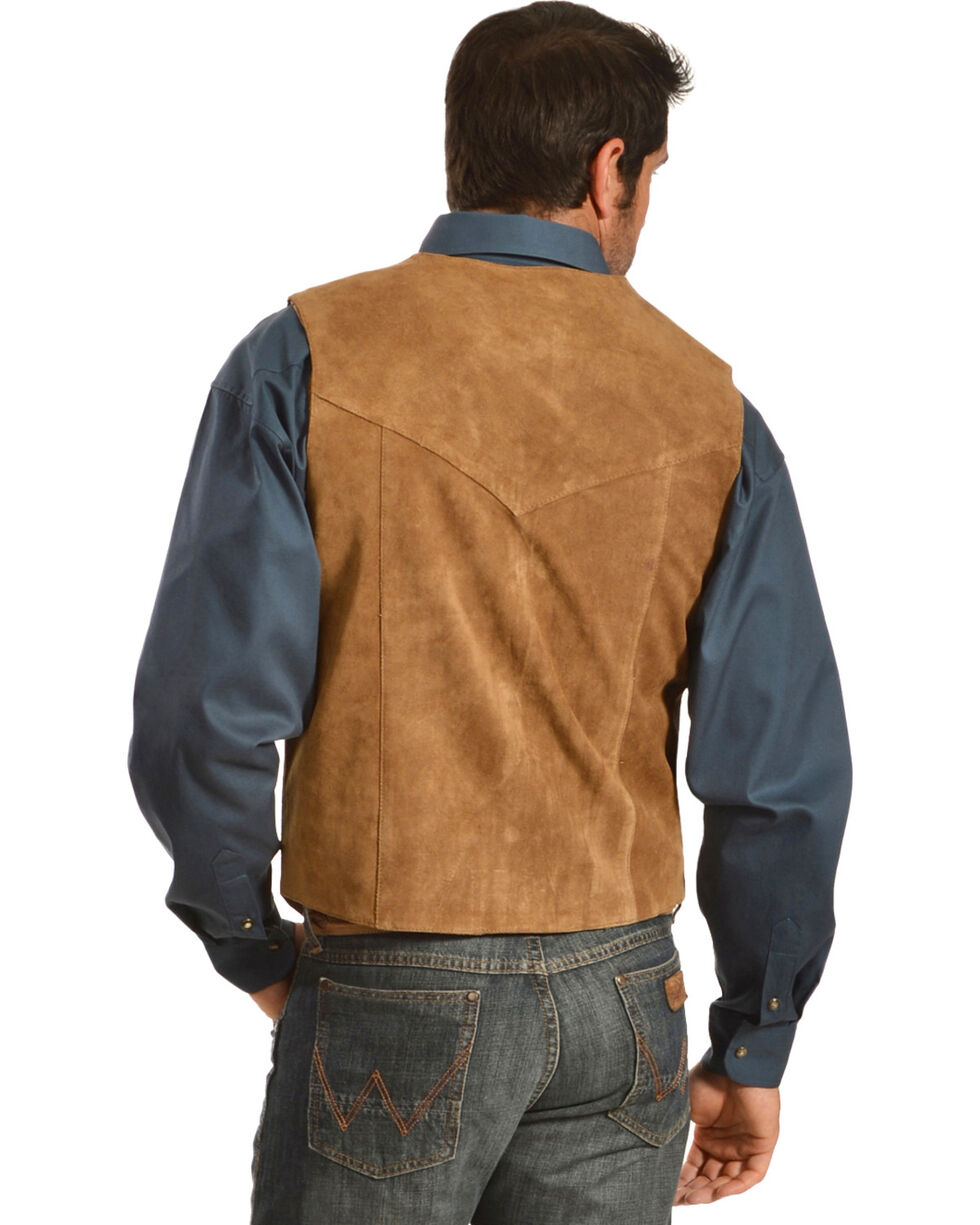 Liberty Wear Men's Suede Western Vest, Brown, hi-res