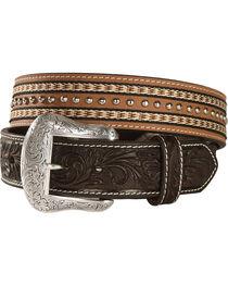 Nocona Top Hand Studded Double Ribbon Trim Belt, , hi-res