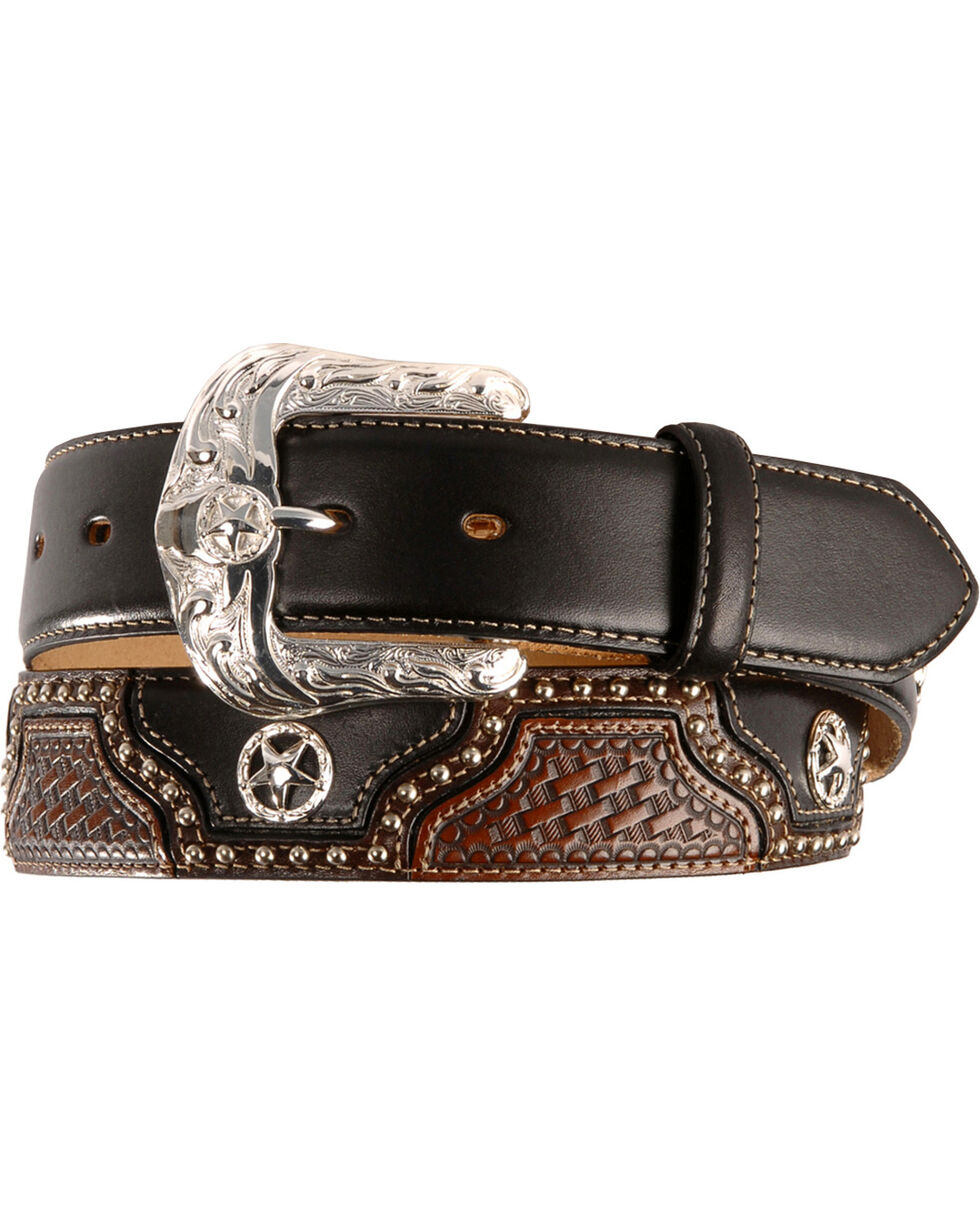 Justin Texas All Star Leather Western Belt - Reg & Big, Black, hi-res