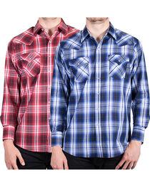 Ely Cattleman Men's Lurex Plaid Long Sleeve Western Shirt, , hi-res