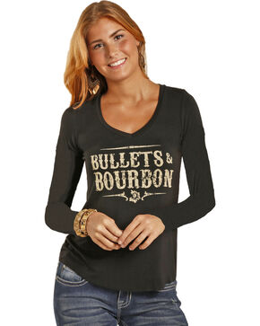 Rock & Roll Cowgirl Women's Black Bullets & Bourbon Tee , Black, hi-res