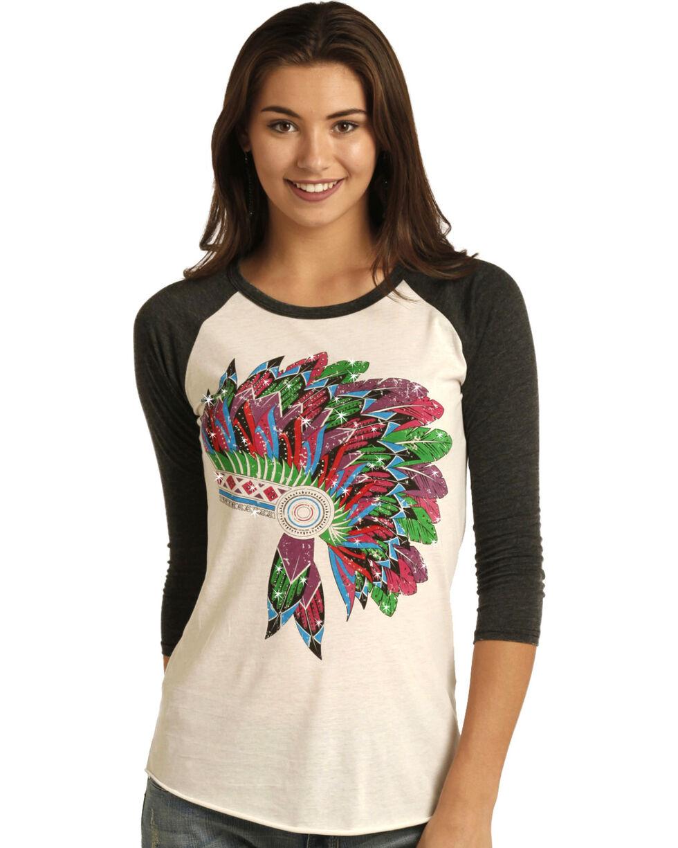 Rock & Roll Cowgirl Women's Multi Indian Head Dress Print Shirt, Charcoal Grey, hi-res