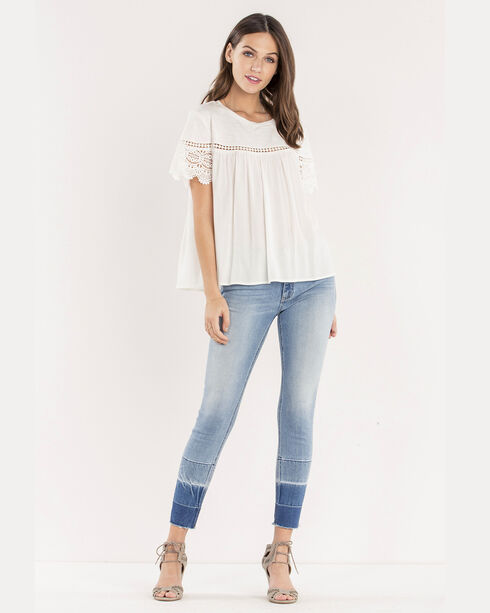 Miss Me Women's White Essential Lace Top , White, hi-res
