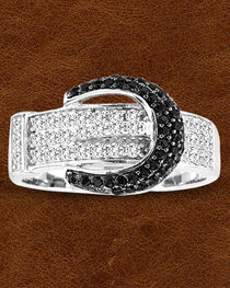Kelly Herd Sterling Silver Pave' Black Buckle Ring , , hi-res