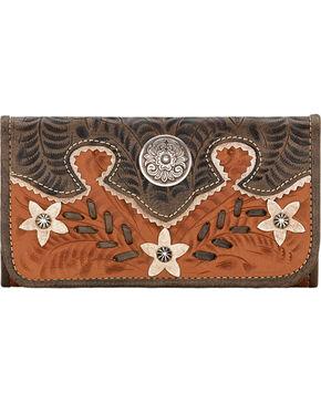 American West Women's Desert Wildflower Tri-Fold Wallet, Tan, hi-res