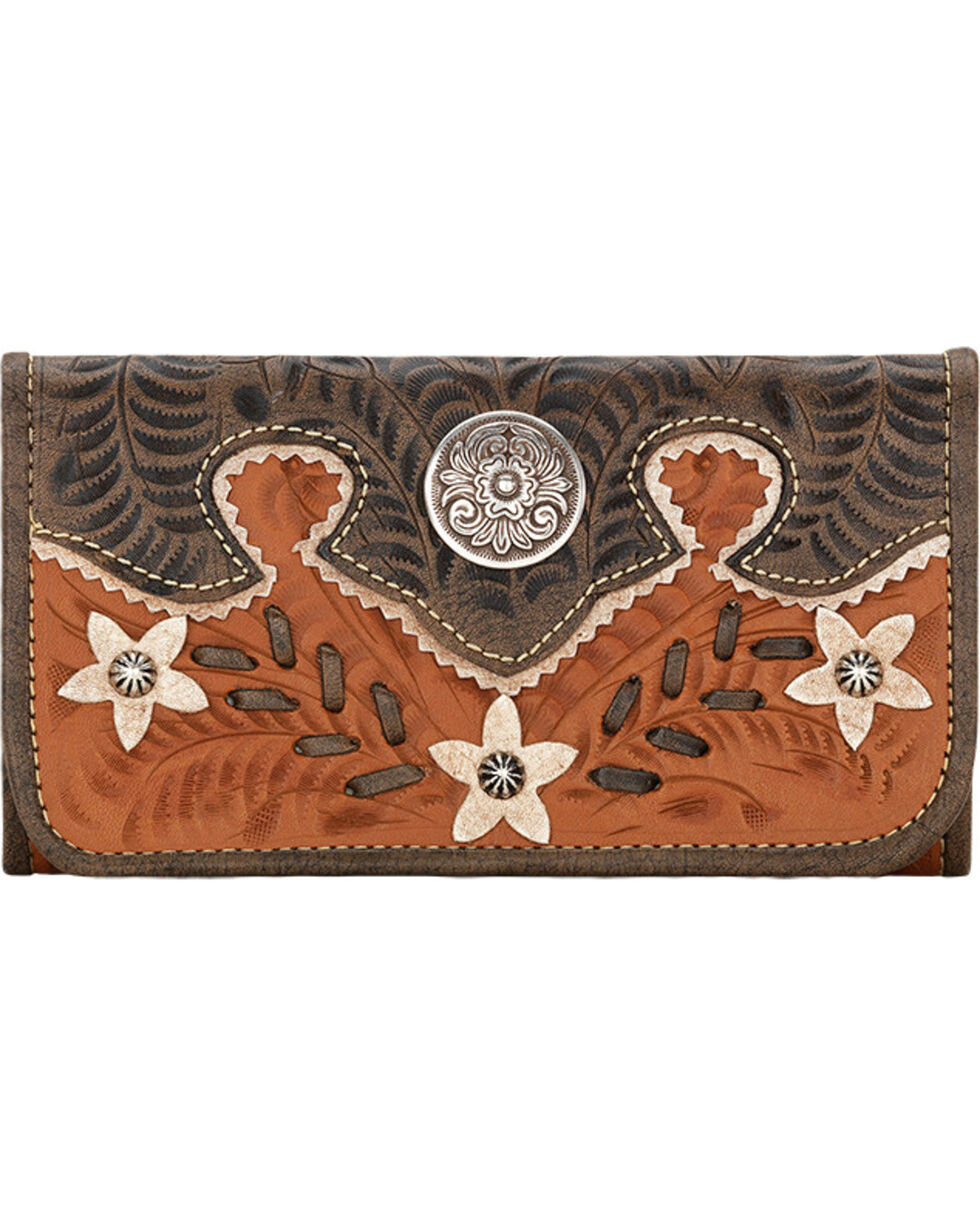 American West Women's Desert Wildflower Tri-Fold Wallet, Tan, hi-res