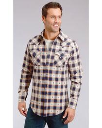 Stetson Men's Modern Fit Dobby Plaid Long Sleeve Snap Shirt, , hi-res