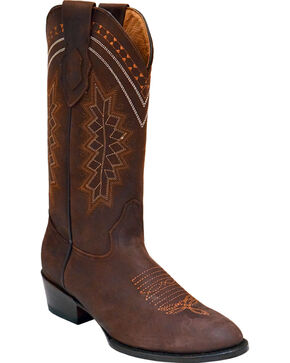 Ferrini Men's Navajo Western Boots - Round Toe , Chocolate, hi-res