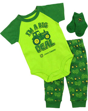 John Deere Infant Boys' Tractor Onesie Set, Green, hi-res