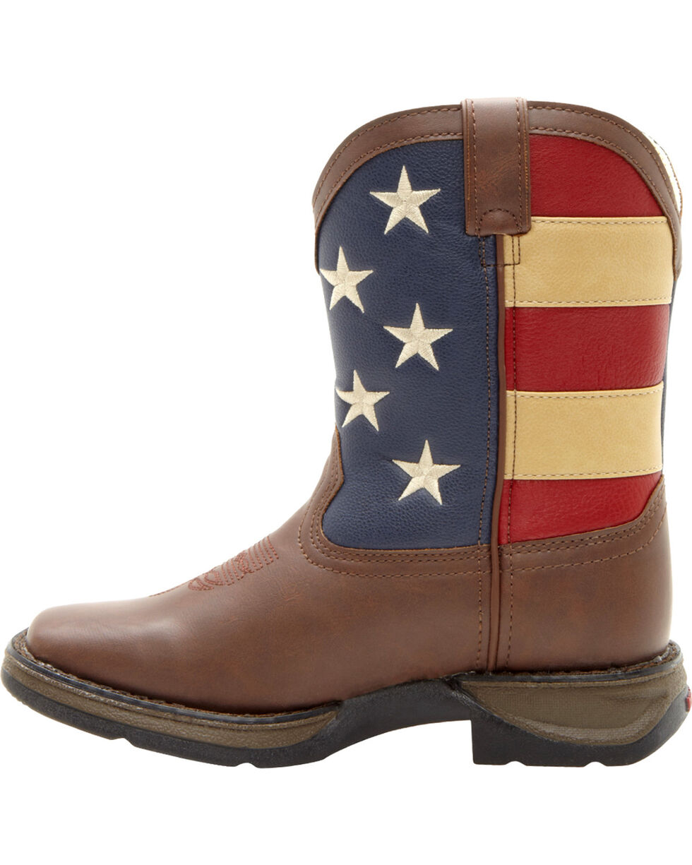 Durango Kid's Flag Western Boots, Brown, hi-res