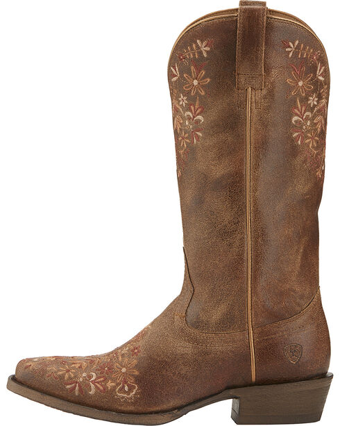 Ariat Women's Ardent Floral Embroidered Western Boots, Brown, hi-res