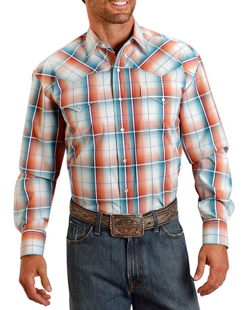 Stetson Plaid Long Sleeve Shirt, Orange, hi-res