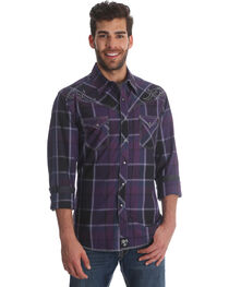 Wrangler Rock 47 Men's Purple Plaid Long Sleeve Western Shirt, Purple, hi-res