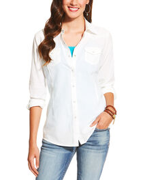 Ariat Women's White Darby Snap Shirt, , hi-res