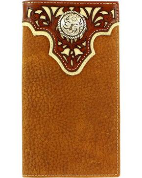 Ariat Men's Rodeo Pierced Overlay Wallet , Tan, hi-res