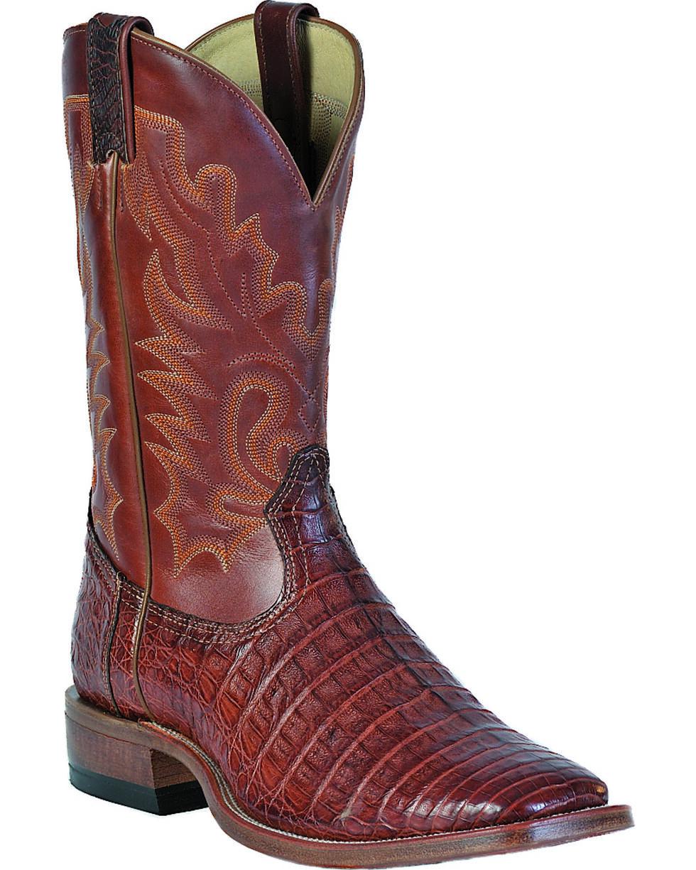 "Boulet Men's Exotic 12"" Caiman Square Toe Boots, Peanut, hi-res"