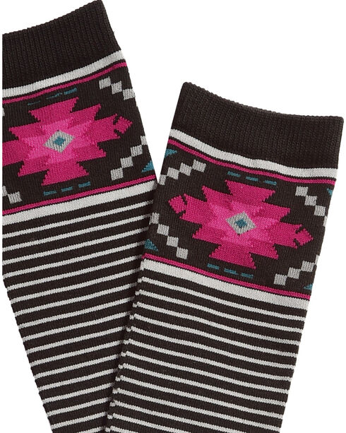 Catawba Women's Aztec Striped Knee-High Socks, Black, hi-res