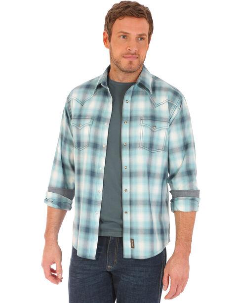 Wrangler Retro Men's Plaid 2 Pocket Long Sleeve Snap Shirt - Big and Tall, Teal, hi-res