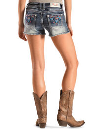 Grace in LA Blue Aztec Embroidered Cutoff Shorts, , hi-res
