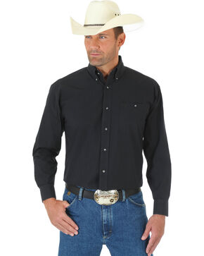 Wrangler George Strait Men's Black Long Sleeve Shirt - Tall, Black, hi-res