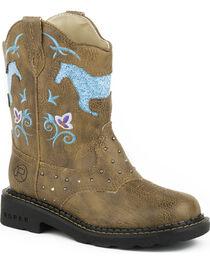 Roper Kid's Horse Flowers Dazzel Lights Western Boots, , hi-res