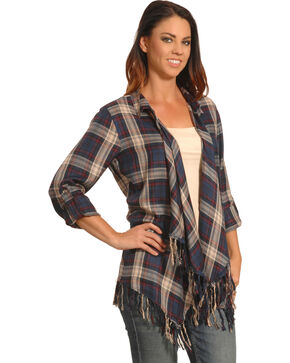 New Direction Women's Blue Plaid Fringe Cardigan , Blue, hi-res