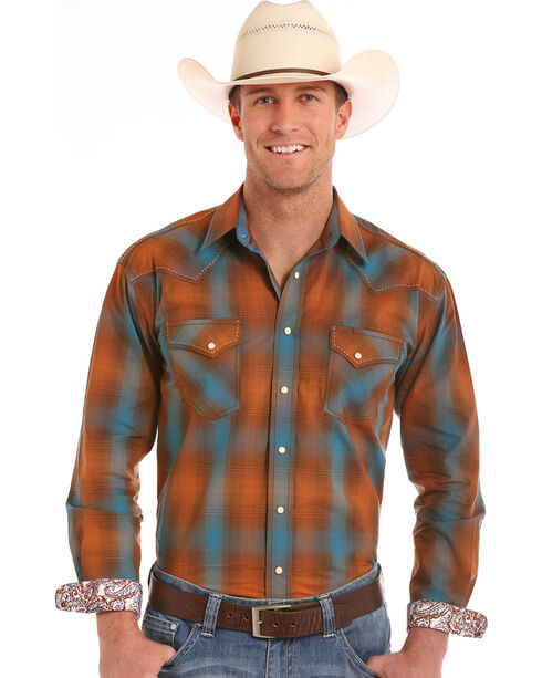 Rough Stock by Panhandle Men's Antique Ombre Plaid Long Sleeve Shirt, Orange, hi-res