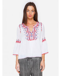Johnny Was Women's White Willow Flare Sleeve Top, , hi-res