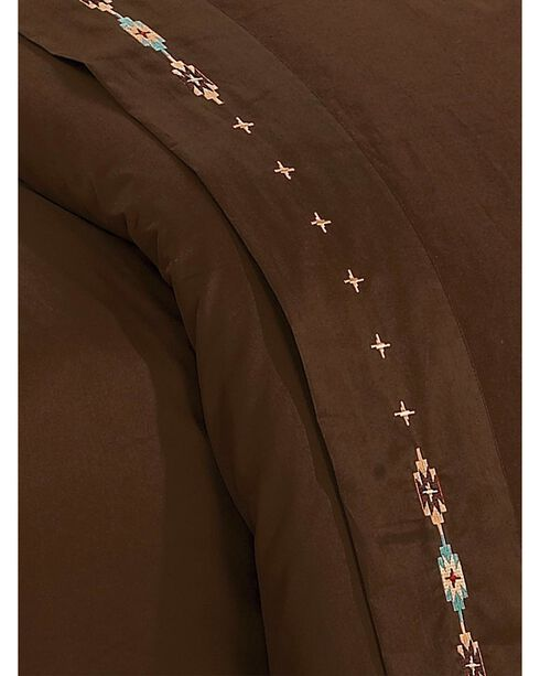 HiEnd Accents Navajo Embroidered Chocolate Sheet Set - Queen, Chocolate, hi-res