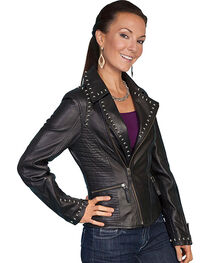Scully Women's Studded Lamb Leather Motorcycle Jacket, , hi-res