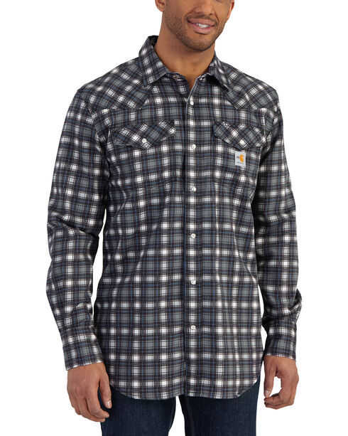 Carhartt Men's Plaid Grey Flame-Resistant Snap-Front Shirt - Tall , Grey, hi-res