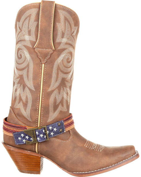 Durango Women's American Flag Buckle Western Boots, Brown, hi-res