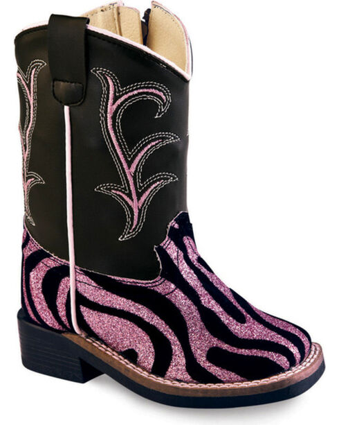 Old West Toddler Girls' Pink and Black Western Boots - Square Toe, Zebra, hi-res