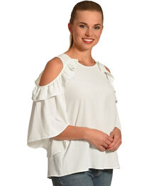 Polagram Women's White Cold Should Ruffle Top , , hi-res