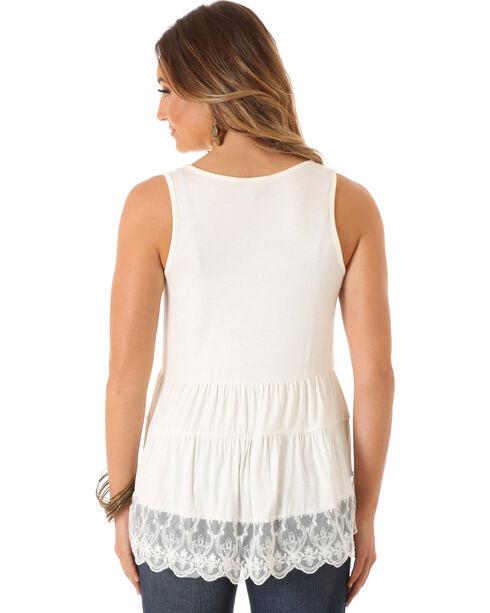 Wrangler Women's Sleeveless Tiered with Lace Hem Top, Cream, hi-res