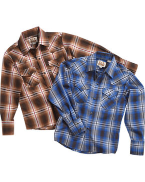 Ely Cattleman Boys' Assorted Textured Plaid Long Sleeve Shirt, Multi, hi-res