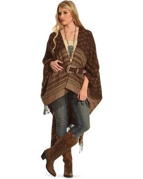 Shyanne Women's Burgundy Palmona Blanket Scarf, Burgundy, hi-res