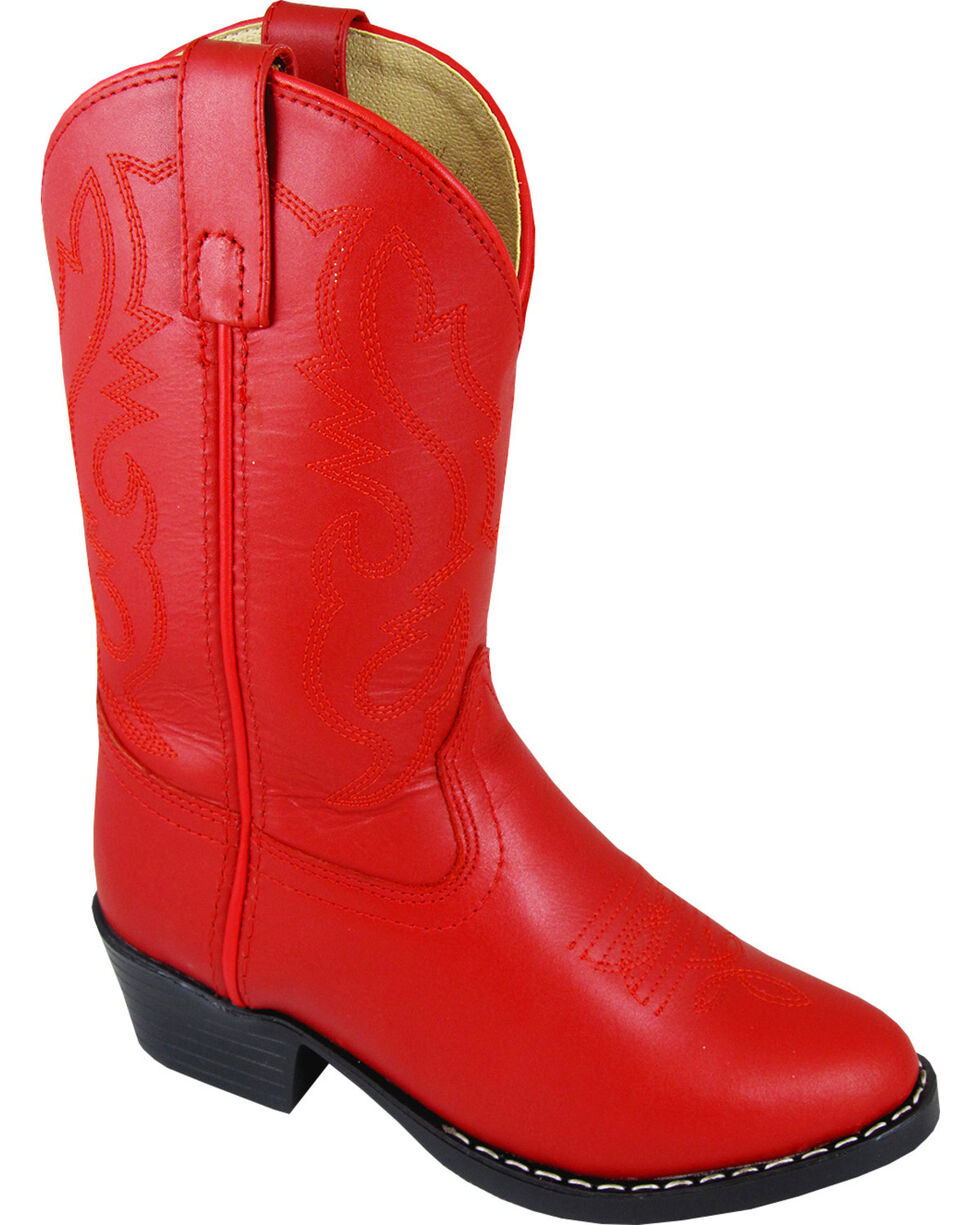Smoky Mountain Youth Girls' Denver Western Boots - Round Toe, Red, hi-res