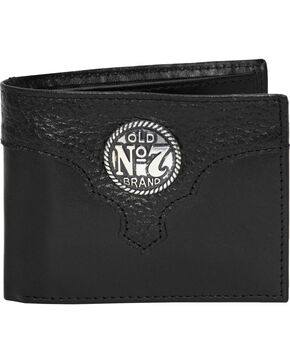 Western Express Men's Black Old #7 Leather Billfold Wallet , Black, hi-res
