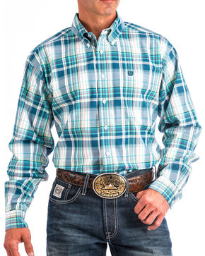 Cinch Men's Blue Large Plaid Western Shirt , White, hi-res