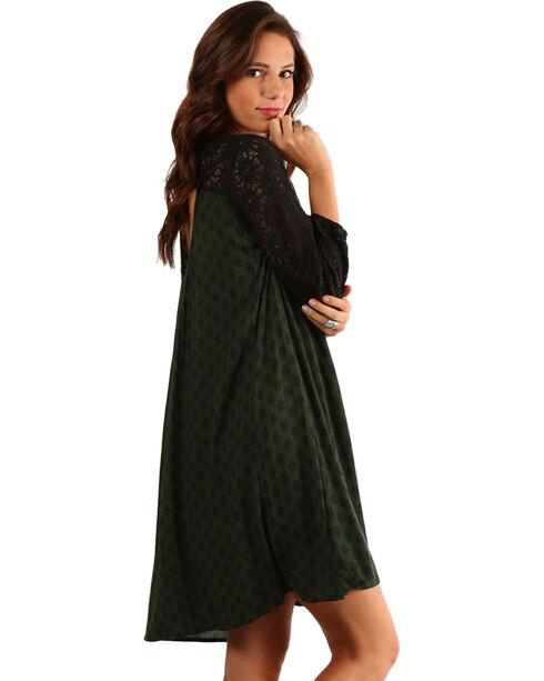Mystree Women's Crochet Lace Open Back Long Sleeve Dress, Green, hi-res