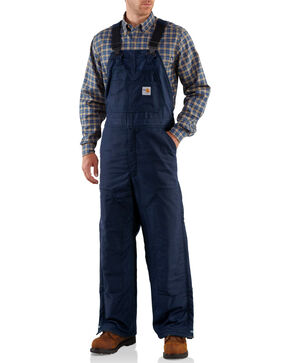 Carhartt Men's Flame-Resistant Midweight Quilt-Lined Bib Overalls - Big & Tall, Navy, hi-res
