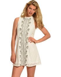 Polagram Women's Embroidered Sleeveless Dress , , hi-res