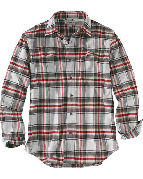 Carhartt Men's Hubbard Plaid Flannel Shirt , Grey, hi-res
