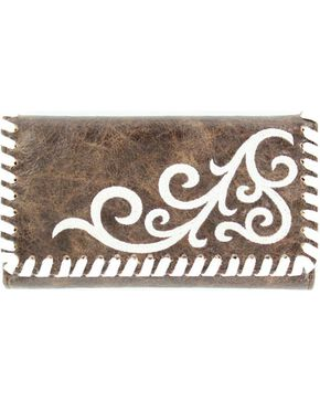 M&F Women's Blazin Roxx Western Scroll Tri-Fold Wallet, Brown, hi-res