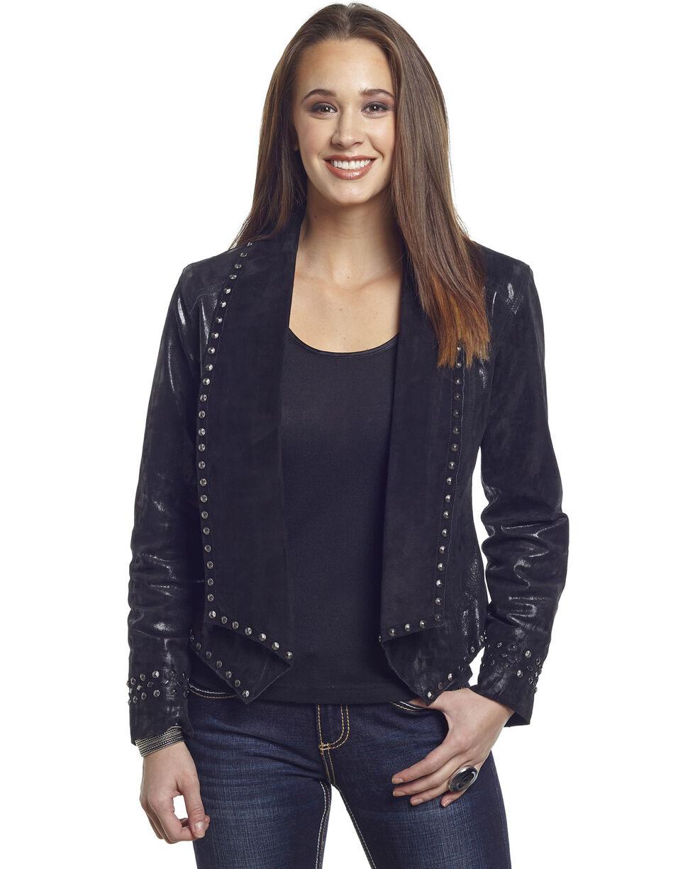 Cripple Creek Women's Studded Metallic Draped Leather Jacket, Black, hi-res